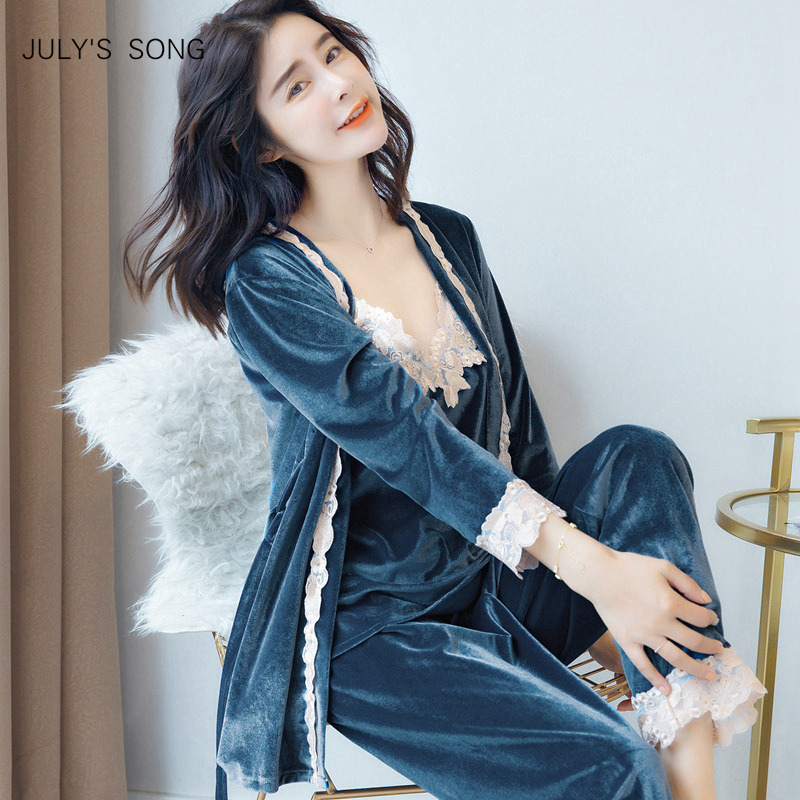 JULY'S SONG Autumn Winter Warm   Pajamas     Set   Women Sexy   Pajamas   Sleepwear For Women Sleeveless Strap Nightwear Long Pant Robe