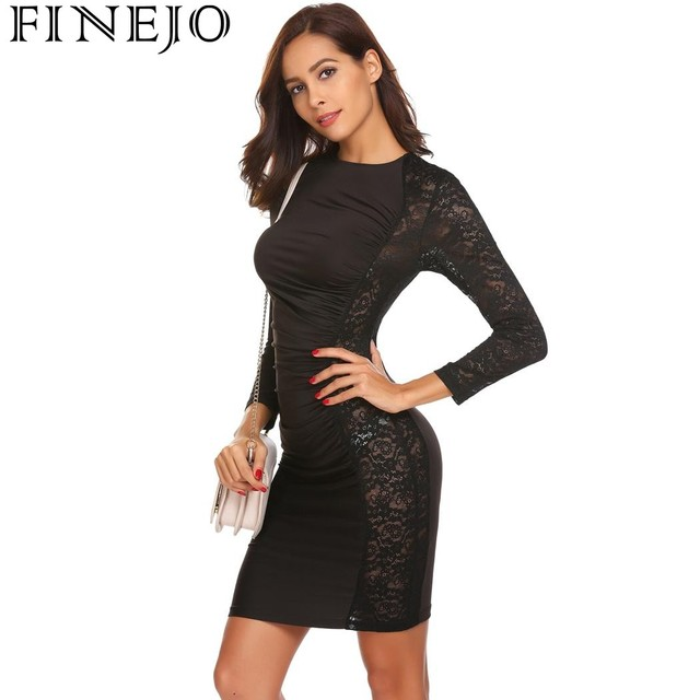 2e3808bd3858 FINEJO Women Sexy Lace Patchwork Ruched Pencil Dress Club Party O-Neck Long  Sleeve Bodycon Dresses Solid Slim Feminino Vestidos