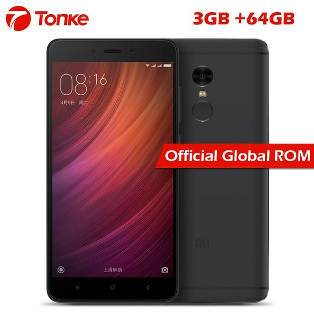 """Оригинальный Xiaomi Redmi Note 4 3 ГБ Оперативная память 64 ГБ Встроенная память Мобильный телефон MTK helio X20 Дека Core 5.5"""" FHD 4100 мАч отпечатков пальцев ID 13.0MP Камера"""