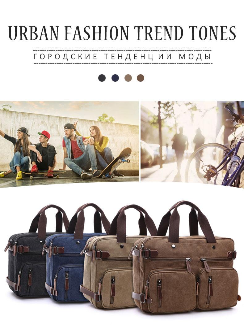 HTB1sF bKXuWBuNjSszbq6AS7FXaT Scione Men Canvas Bag Leather Briefcase Travel Suitcase Messenger Shoulder Tote Back Handbag Large Casual Business Laptop Pocket