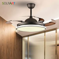 Ceiling Fan Light Hidden Blades Nordic Modern Dinning Room Bedroom Living Room Restaurant Solid Wood Fan Lamp Free Shipping