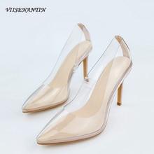 VIISENANTIN clear pvc high heel shoe pointed toe shallow mouth slip on lazy women dress orange blue beige nude female
