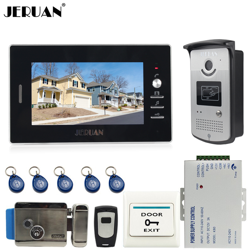 JERUAN Brand New 7 Color Screen Video DoorPhone Intercom System 1 Monitor + 700TVL RFID Access Camera + E-lock In Stock brand new 7 inch color screen video doorphone sperakerphone intercom system 1 monitor 700tvl coms camera free shipping