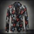 2016 Весной и Осенью мужская Мода Печать Костюм Отдыха Бабочка Печати Платье Костюм Красочные Блейзеры