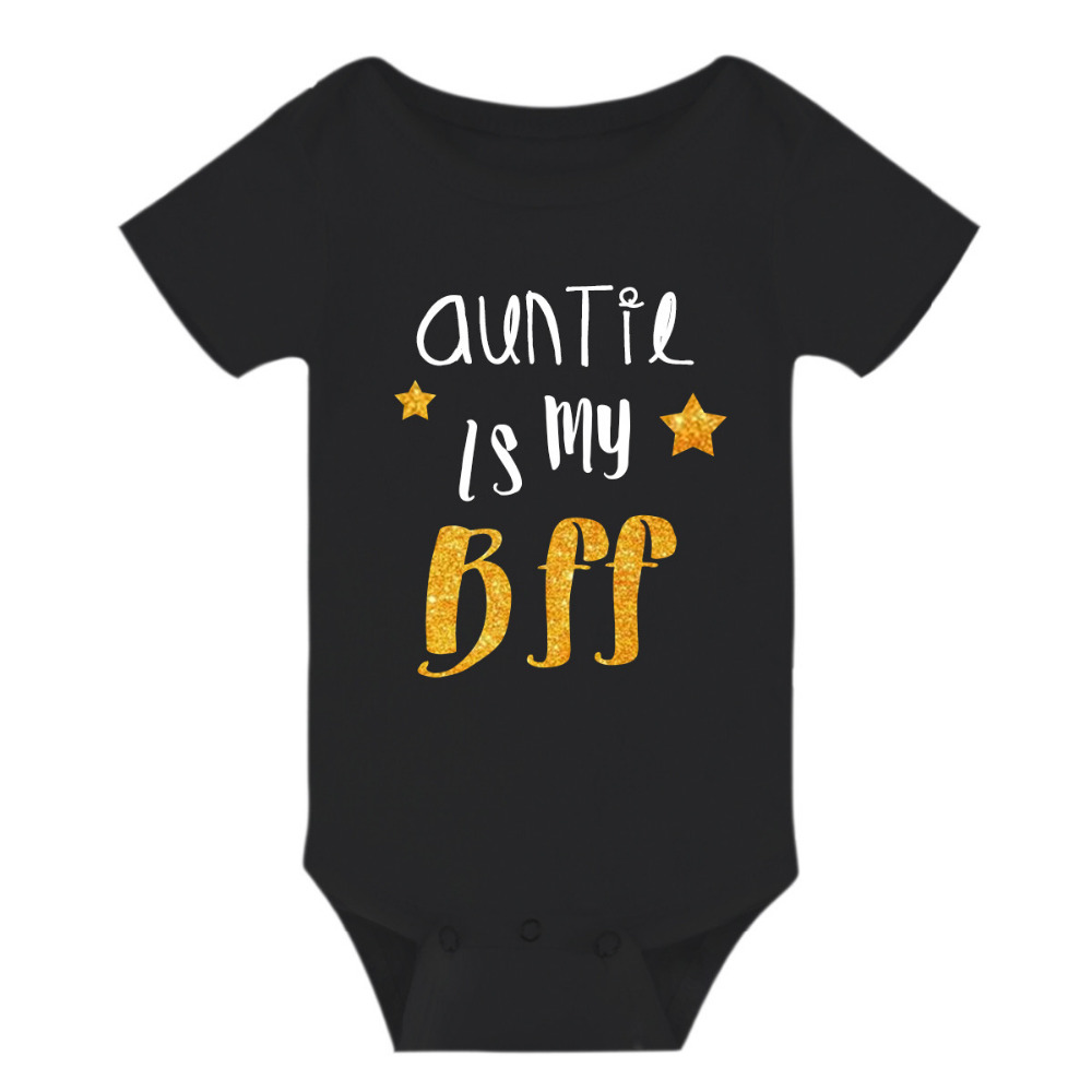 Newborn Infant Baby boys Girls Outfits Love auntie is my bff bestie Romper cotton short sleeve ...