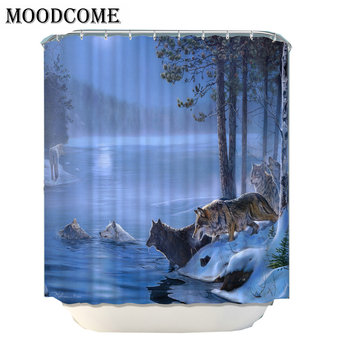 Moon River Wolf Shower Curtain Waterproof Polyester Fabric Forest Bath Curtain Shower For Bathroom