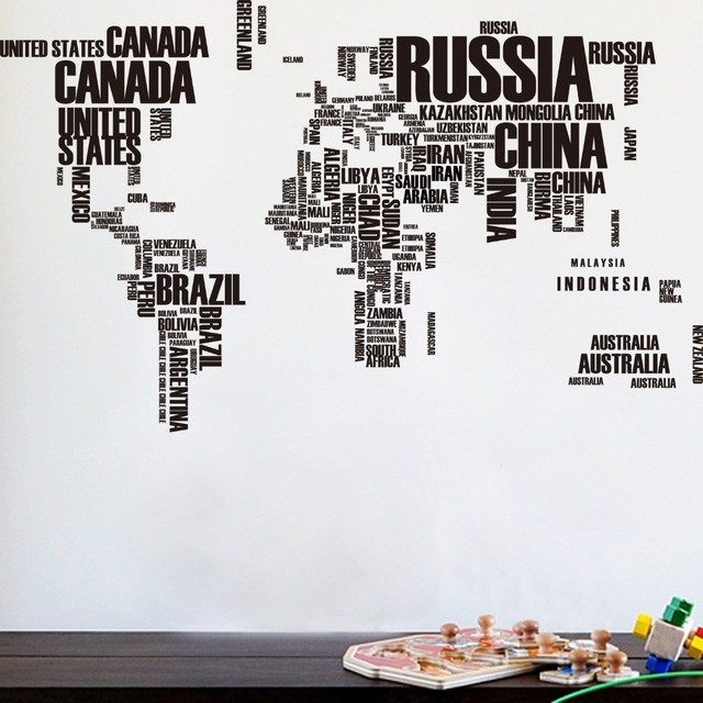 Giant world map wall stickers creative letters map wall art giant world map wall stickers creative letters map wall art bedroom home decoration wall decals zooyoo95ab sciox Images