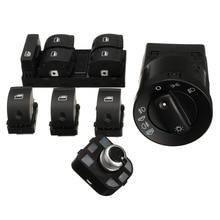 6pcs Headlight Window Master Panel Side Mirror Switch Set For Audi A4 Sedan 8E0941531 8E095985B 8E0959855 4F059565A