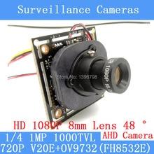 720P AHD 4in1 1000TVL V20E+OV9732(FH8532E) CCTV Camera Module 1080P 8mm Lens Video surveillance camera IR-CUT dual-filter switch