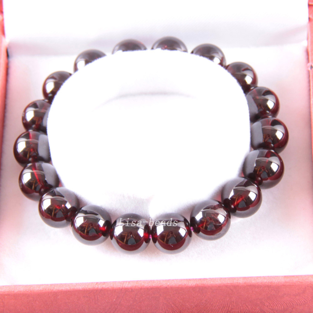 Free Shipping Fine Jewelry Stretch Red Round Beads 12MM AA 100% Natural Garnet Bracelet 8 with Box 1Pcs J036 free shipping fine jewelry stretch red round beads 9mm aa 100