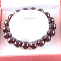 Free Shipping Fine Jewelry Stretch Red Round Beads 12MM AA 100% Natural Garnet Bracelet 8 with Box 1Pcs J036