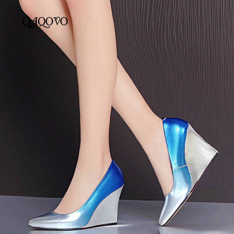 Fashion Gorgeous Wedges Pumps Women s Leather High Heels Slip On Party Shoes  Pointed Toe Spring Autumn a90d09dfc6cf