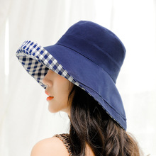 2019 spring and summer solid color bucket cap double-sided wear loose lattice sunscreen fisherman hat sun hat UV protection cap fashion pop fruits cap unisex harajuku bucket hat adult double sided wear banana fisherman hat sunscreen outdoors cap sun hats