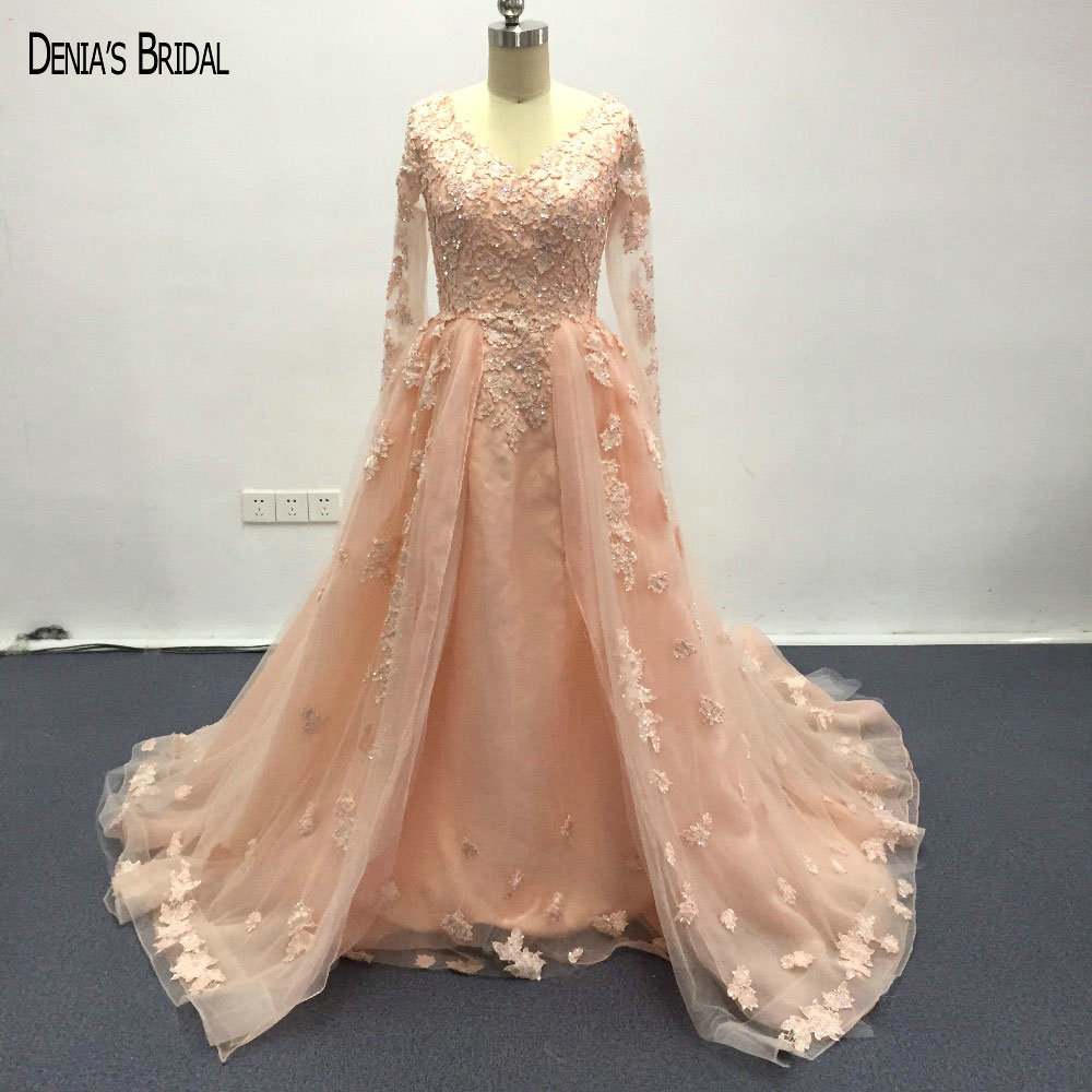 2017 A-Line Orange Evening Dresses with V Neckline Sequins Floor Length Long Sleeves Train Party Prom Gowns