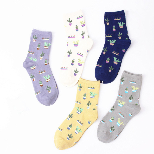 US $1.19 20% OFF|Cartoon Plant Cactus Pattern Socks Women Soft Comfortable  Cute Cotton Cacti Socks Harajuku Lovely Girl Warm Short Socks meias-in ...
