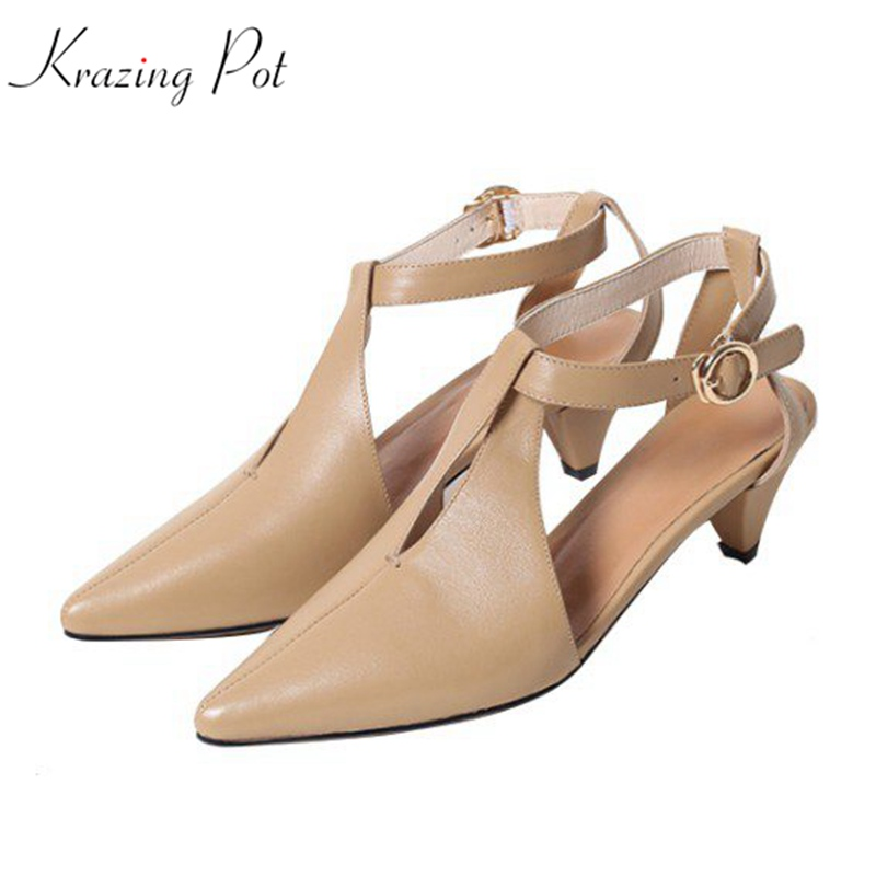 Krazing pot full grain leather strange style med heels summer women European design dancer sandals hollow pointed toe shoes L61 krazing pot shoes women full grain leather mules hollywood peep toe metal chain decorations sandals summer outside slippers l88