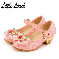 Spring Girls Fancy Dress Shoes High Heels Sequines Crystal Shoes Beaded Sandals Princess Wedding Party School
