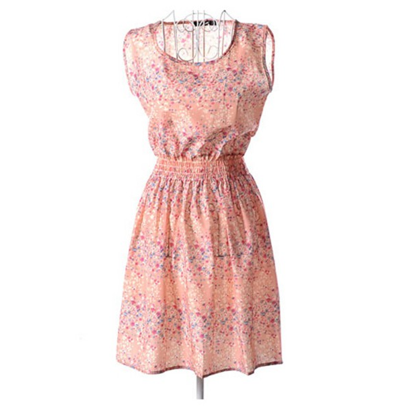 Verano de las mujeres vestidos delgado impresión floral de la gasa corto mini be