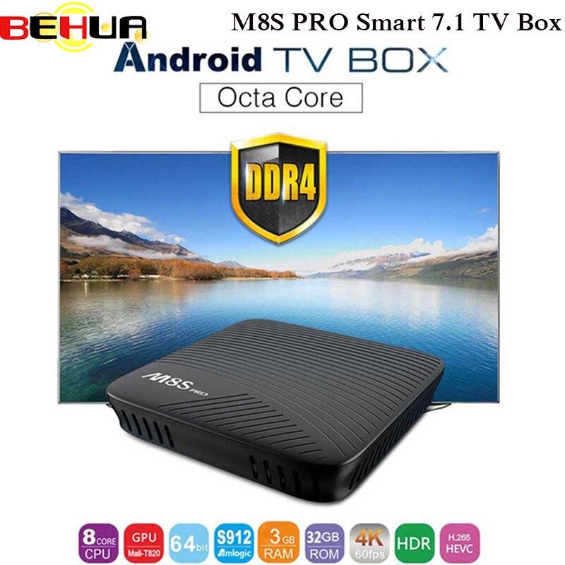 MECOOL M8S PRO Android 7.1 TV Box BT 4.1 DDR4 Amlogic S912 2.0GHz Octa Core ARM Cortex-A53 4K Full HD 3D PK KI PRO set top box