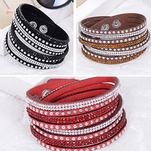 Women Fashion Multilayer Punk Faux Leather Rhinestone Wristband Cuff Bracelet Bangle