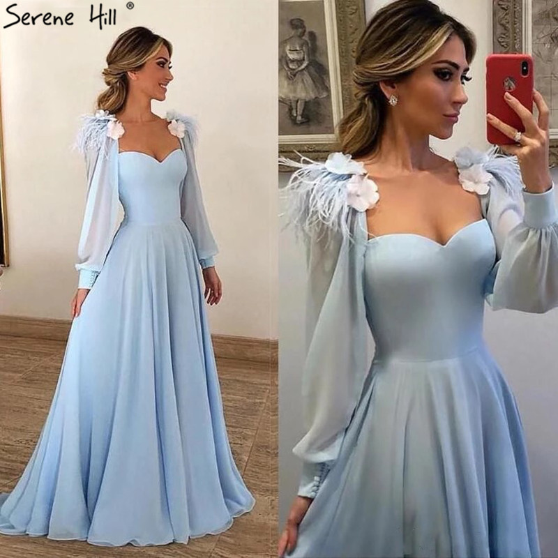 Sexy Blue Sweetheart Long Sleeves Evening Dresses 2019 Chiffon Ostrich Feather Evening Gowns Serene Hill BHA2217