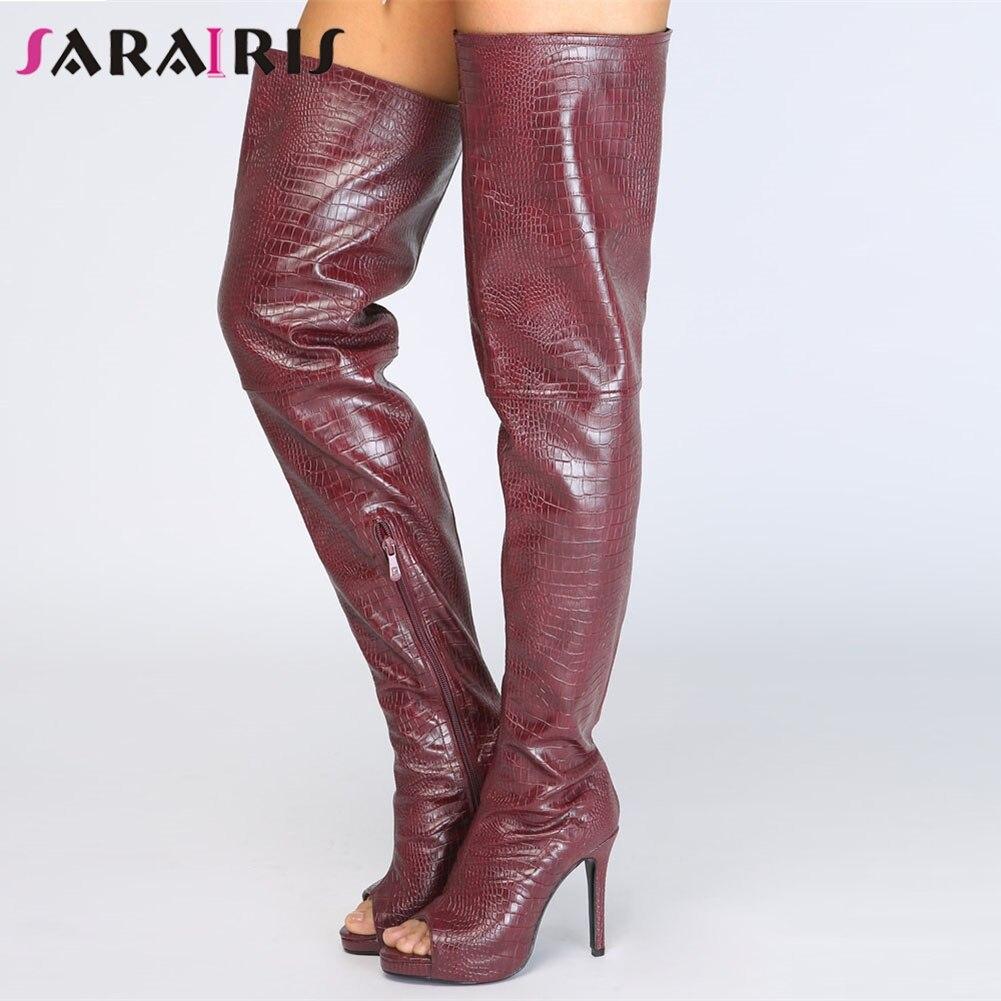0b6ddf6c3 De Primavera Nuevo Plus Moda Mujer Casual Delgada Rodilla Zapatos Invierno  Sarairis La Tinto Peep Botas ...