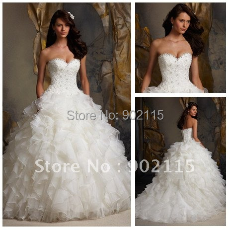 High Quality Sweetheart Custom Made Ball Gown Top Lace Organza Weding Dress