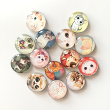 Free shipping (14pcs/lot) Cute Cat Round Glass Fridge Magnet Cartoon Animal Message sticker for kids Lovely Decoration