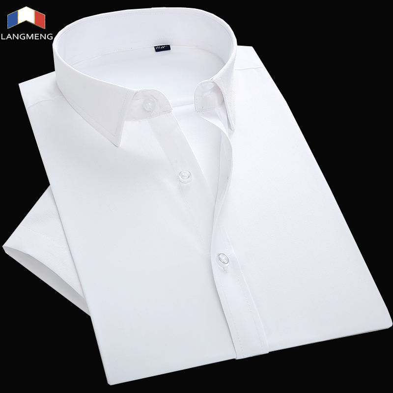 Langmeng 2018 Mens Work Shirts Brand Short Sleeve Striped Twill Men Dress Shirts White Male Shirts Formal Men Business Shirt