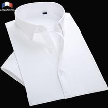 langmeng 2018 mens work shirts Brand short sleeve striped twill men dress white male Formal Men Business Shirt
