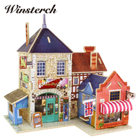 Kids Wooden Toys Jigsaw 3D Puzzle Wood House Castle Building Toys Children's Educational Chalets Wood Toys Birthday Gift ZS096