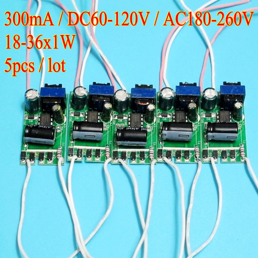 5pcs/lot High efficiency 300mA 18-36W DC 60V ~ 120V Led Driver 18W 20W 24W 25W 30W 36W Power Supply AC 220V for LED lights image