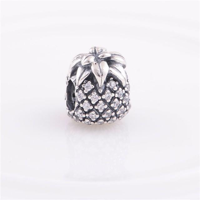 Authentic 925 prata esterlina encantos jóias sparkling abacaxi mulheres beads serve pandora pulseiras jóias diy fazendo