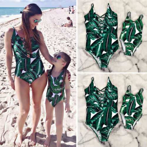 Family Look Matching Swimsuit Tropical Leaf Print Swimsuit Mother Daughter Baby Women Girls Beach Short Family Matching Swimwear