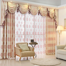 High Quality Brief Fashion Pink Rose Print Curtain Bay Window Valance  Curtains Sheer Crotain For Living Room Can Be Customize