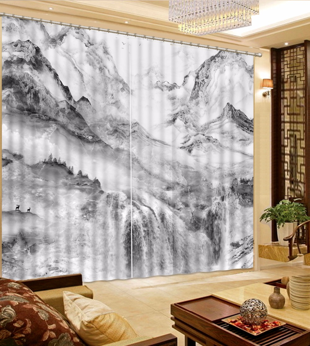 Black And White Kitchen Curtains: Chinese Mountain Landscape Curtains For Bedroom Black And