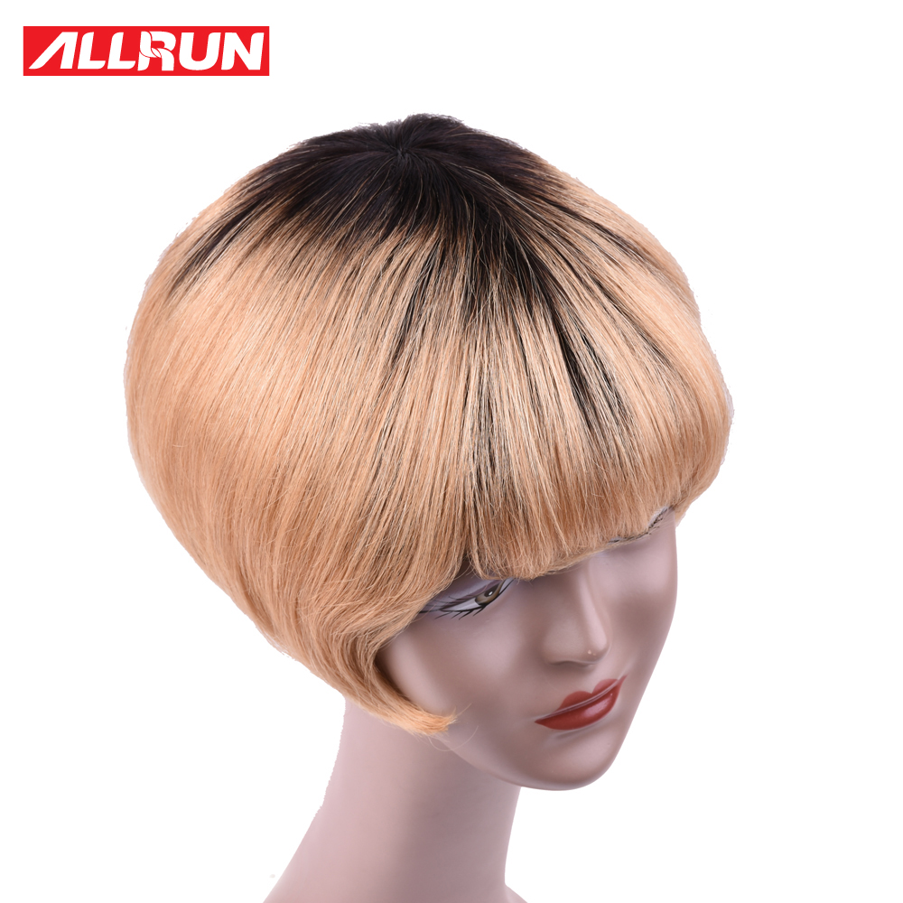 ALLRUN Remy Hair Chinese Tb/27 Color 130% Short Cut Bob Wig Machine Made Human Hair Wigs Free Shipping