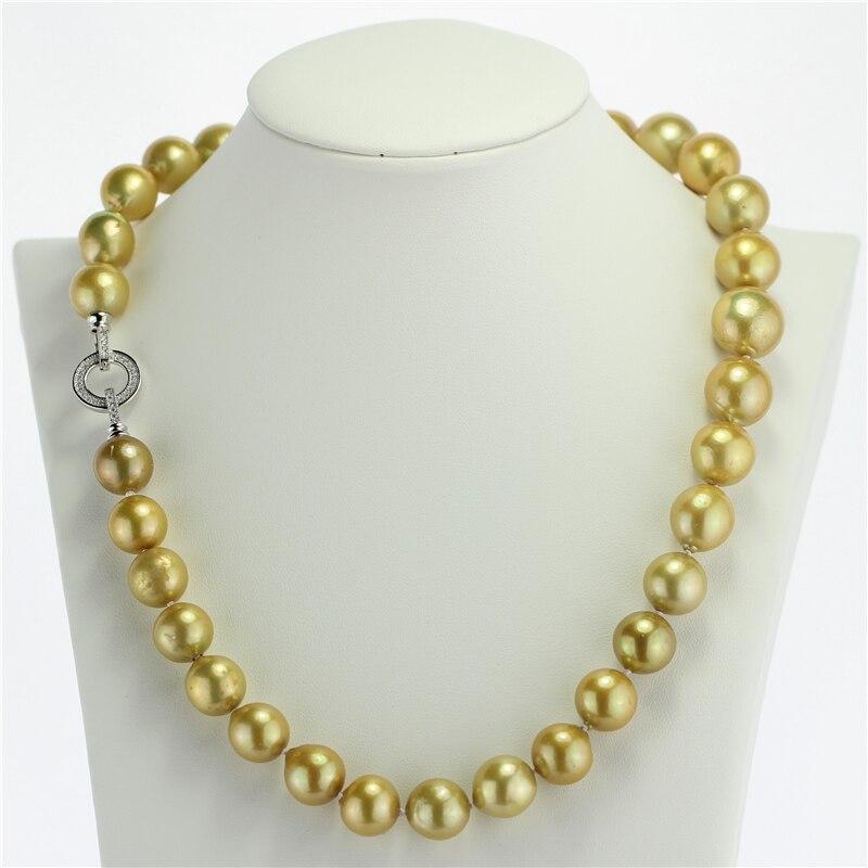 SNH 9-13mm edison 19 zoll 925 silber AA gelb kundenspezifische länge natürliche perle süßwasser perlenketten