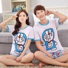 Cute Cartoon Animal Couple Summer Sleep Lounge Pant+Tops Is 2 Piece Pijamas Couples Womens Men Pyjama Sets Lovers Sleep Wear