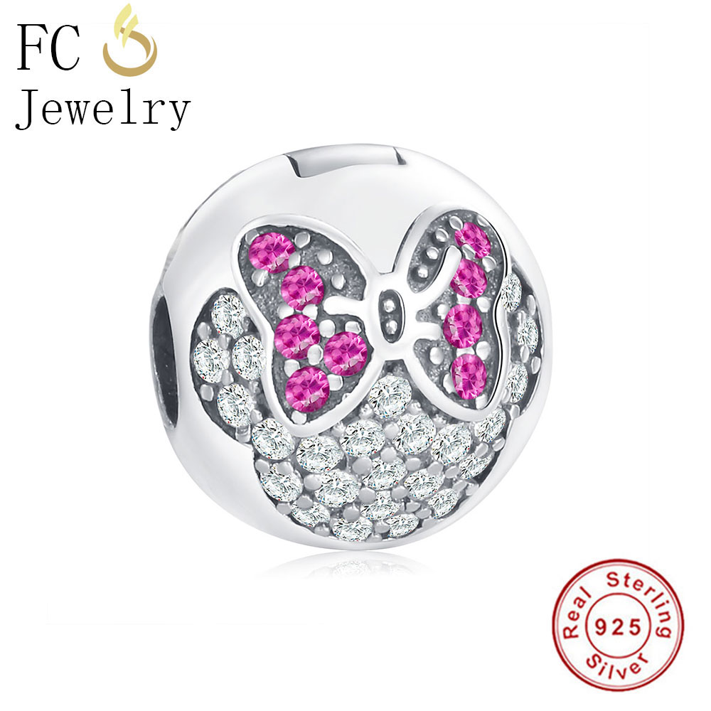 FC Jewelry Fit Authentic Original Pandora Charms Bracelets 925 Sterling Silver Round Minnie Lock Clip Stopper Beads Fashion Gift