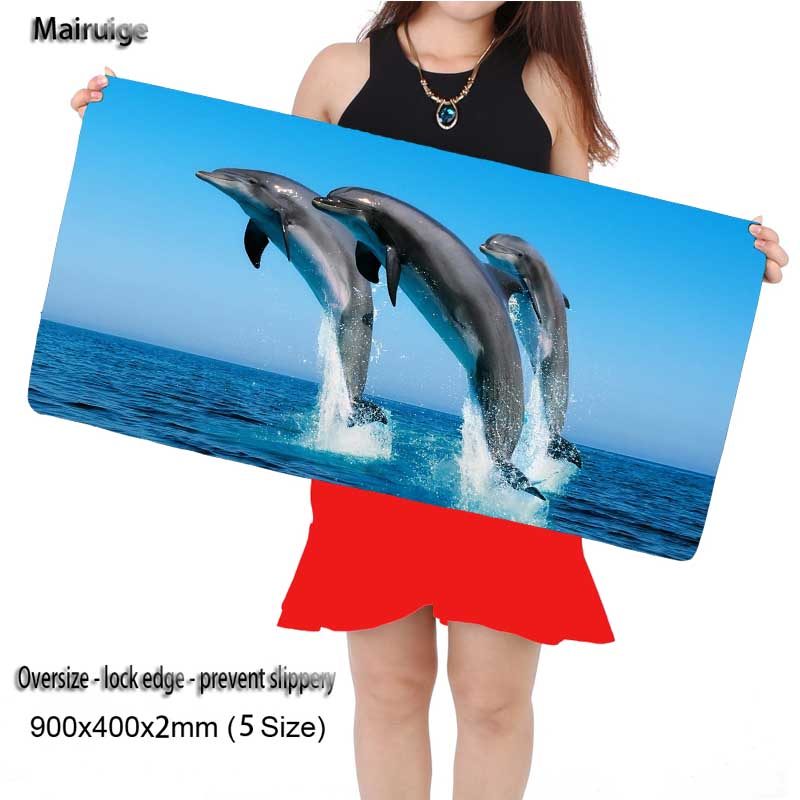 Mairuige Dolphins Jump Custom Large 800*300mm Large Gaming Mouse Pad Mat Locking Edge Thicker PC Anti-slip Mouse Mat for DOTA 2