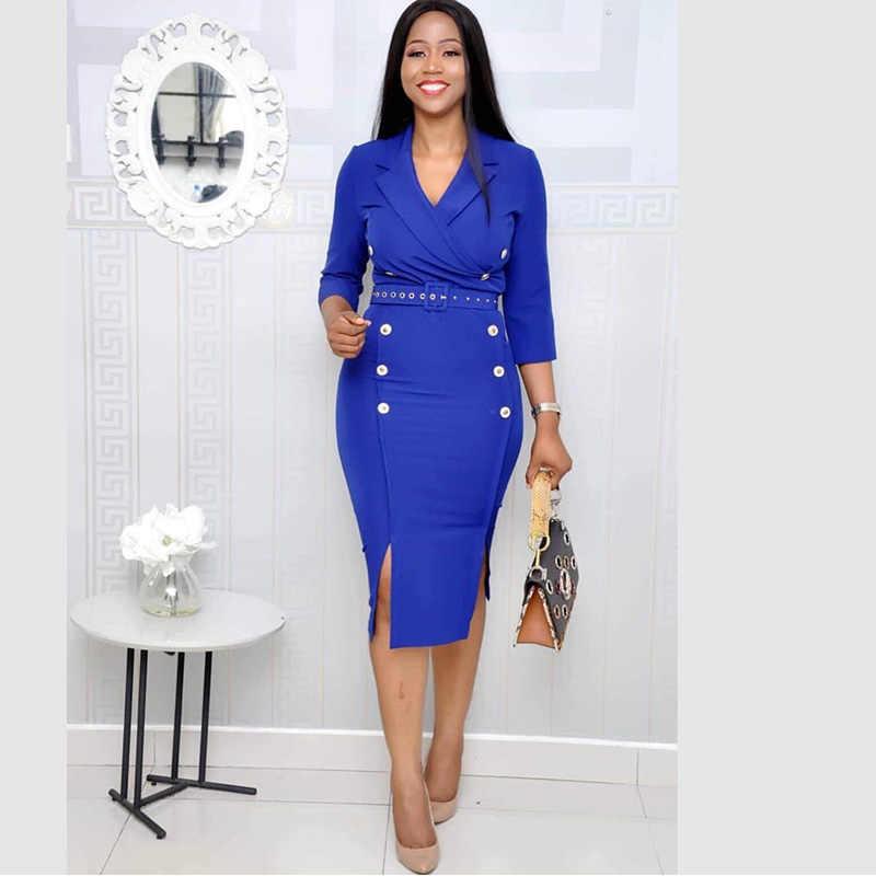 В европейском стиле Модные женские туфли вечерние Блейзер платье элегантное платье костюм Повседневное Половина рукава рабочие туфли из органической кожи женские офисные обтягивающие блейзеры синий