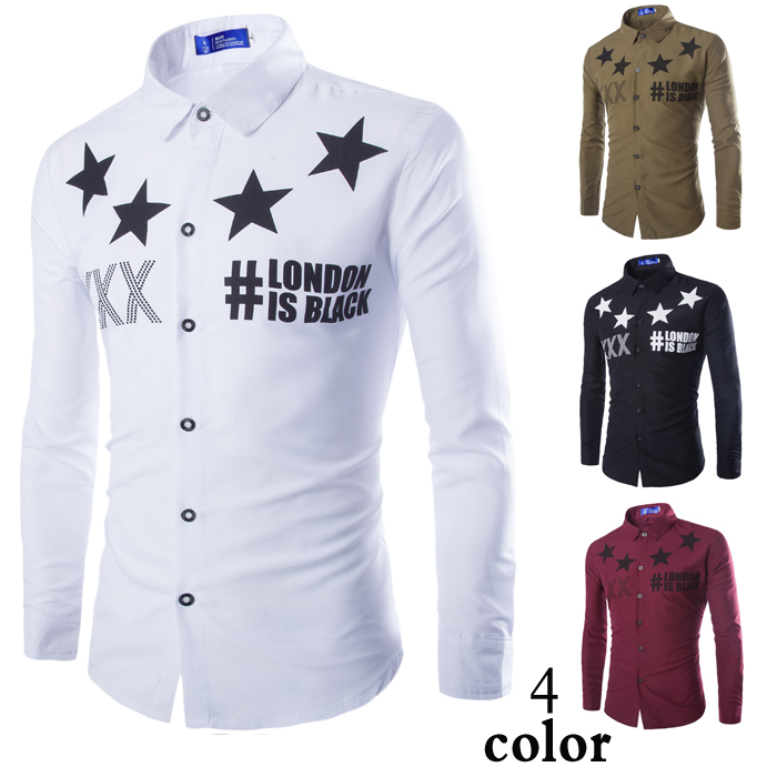 Men s European and American Fashion Printed Long Sleeved Shirt White Black WineRed ArmyGreen M 2XL