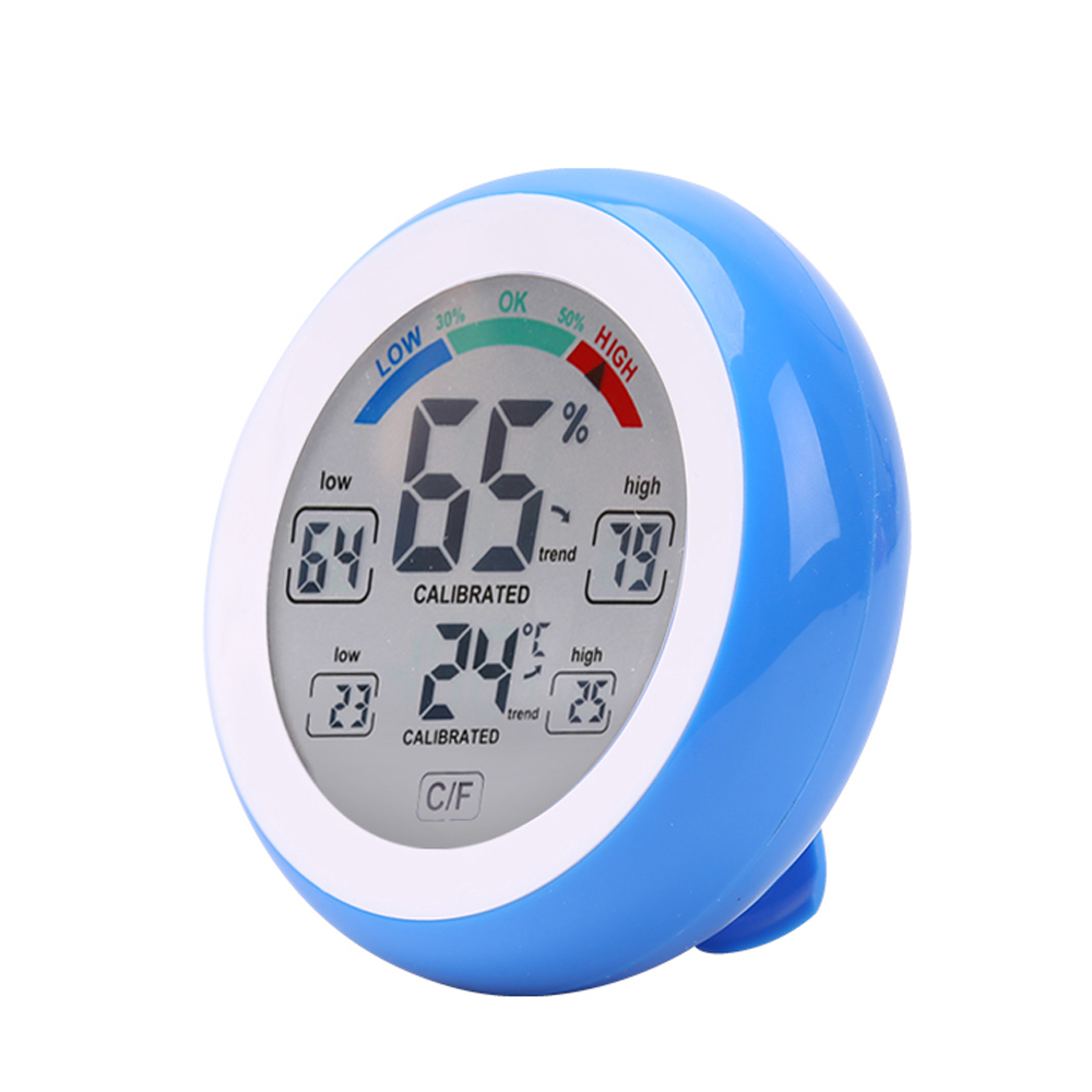 FREE SHIPPING Round Indoor Thermometer and Hygrometer Touch Screen digital