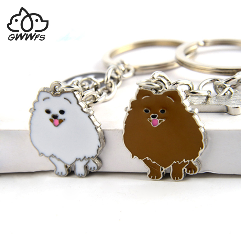 Pomeranian Dog Pendant Key Chains For Women Girls Men Silver Color Alloy Pet Bag Charm Key Ring Male Female Car Keychain Keyring