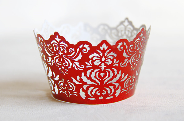 Free Shipping Red Royal Lace Wedding Cupcake Wrappers
