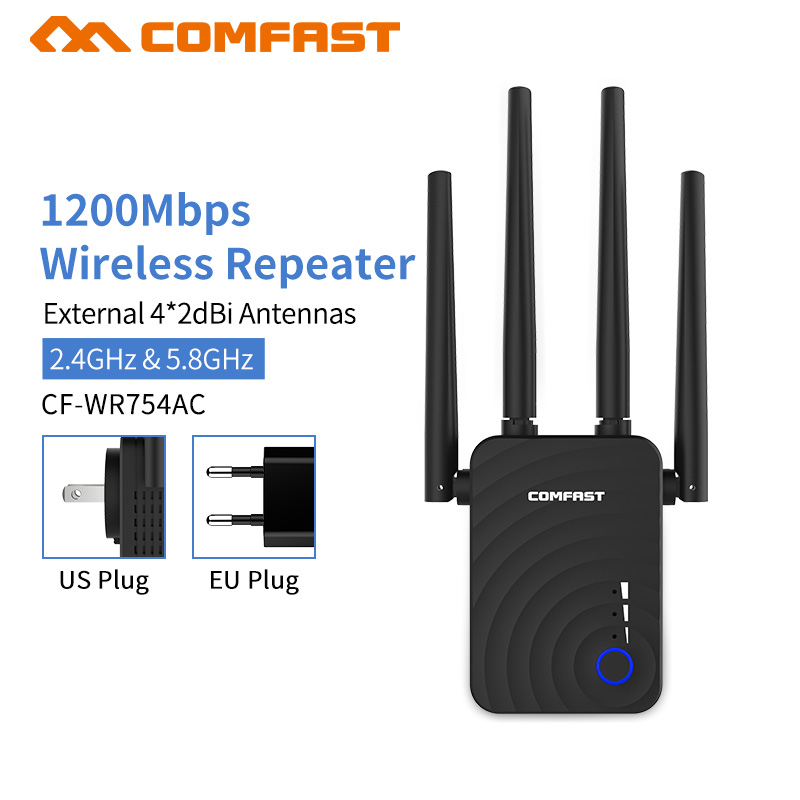 Wireless Wifi Extender 1200mbps Wifi Repeater/Router Dual Band 2.4&5Ghz Wifi Network Booster Long Range Wi-fi Signal Amplifier