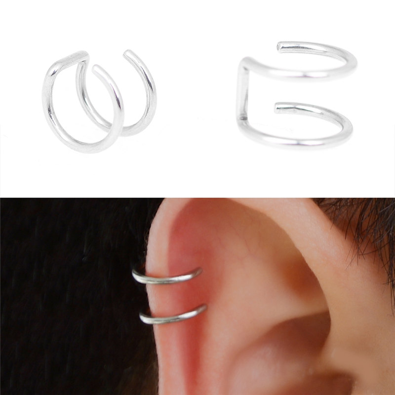 5Pcs/Lot Silver Color Helix Cartilage Ring Fake Ear Clip On Stud Women Punk Non-Piercing Ear Cuff Jewelry Accessories