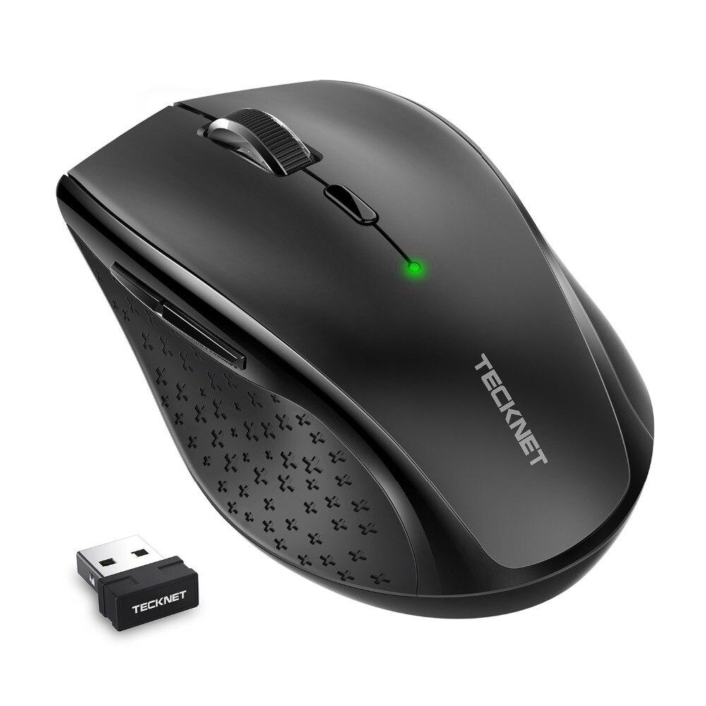 TeckNet Alpha Ergonomico 2.4g Ottico Senza Fili Mobile Mouse con Nano Ricevitore USB per il Computer Portatile Del PC Del Computer 6 Bottoni