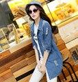 2016 новинка весна осень женщины с длинным рукавом джинсы женский свободного покроя разорвал длинные джинсовая куртка верхняя одежда
